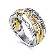 14k Yellow And White Gold Lusso Twisted Ladies' Ring