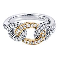 14k Yellow And White Gold Lusso Twisted Ladies' Ring angle 1