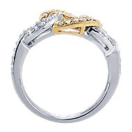 14k Yellow And White Gold Lusso Twisted Ladies' Ring angle 2
