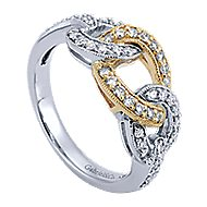 14k Yellow And White Gold Lusso Twisted Ladies' Ring angle 3