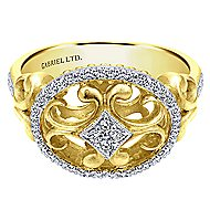 14k Yellow And White Gold Mediterranean Fashion Ladies' Ring angle 1