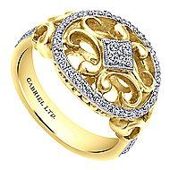 14k Yellow And White Gold Mediterranean Fashion Ladies' Ring angle 3