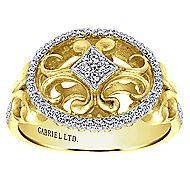 14k Yellow And White Gold Mediterranean Fashion Ladies' Ring angle 4