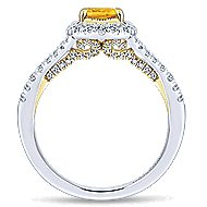 14k Yellow And White Gold Oval Halo Engagement Ring angle 2
