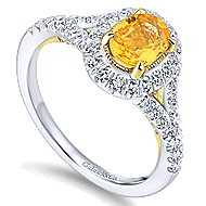 14k Yellow And White Gold Oval Halo Engagement Ring angle 3