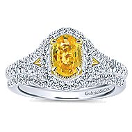 14k Yellow And White Gold Oval Halo Engagement Ring angle 4
