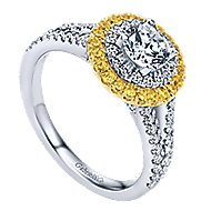14k Yellow And White Gold Round Double Halo Engagement Ring