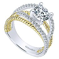 14k Yellow And White Gold Round Free Form Engagement Ring angle 3