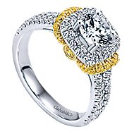 14k Yellow And White Gold Round Halo Engagement Ring