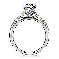 14k Yellow And White Gold Round Split Shank Engagement Ring angle 2