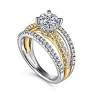 14k Yellow And White Gold Round Split Shank Engagement Ring angle 3