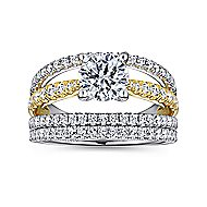 14k Yellow And White Gold Round Split Shank Engagement Ring angle 4
