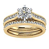 14k Yellow And White Gold Round Straight Engagement Ring angle 4