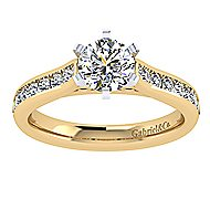 14k Yellow And White Gold Round Straight Engagement Ring angle 5