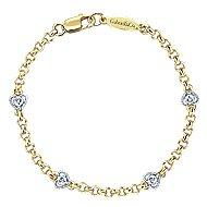 14k Yellow And White Gold Secret Garden Chain Bracelet angle 1