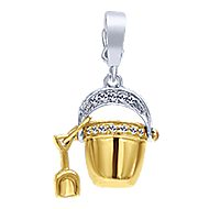 14k Yellow And White Gold Treasure Chests Charm Pendant angle 1