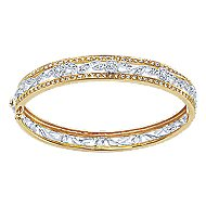 14k Yellow And White Gold Victorian Bangle angle 1