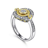 14k Yellow And White Gold Victorian Classic Ladies' Ring angle 3