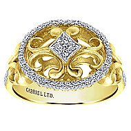 14k Yellow And White Gold Victorian Fashion Ladies' Ring angle 4