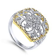 14k Yellow And White Gold Victorian Fashion Ladies' Ring