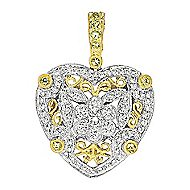 14k Yellow And White Gold Victorian Heart Heart Pendant angle 1