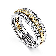 14k Yellow And White Gold Victorian Wide Band Ladies' Ring angle 3