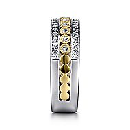 14k Yellow And White Gold Victorian Wide Band Ladies' Ring angle 4
