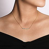 14k Yellow Gold Art Moderne Bar Necklace angle 3