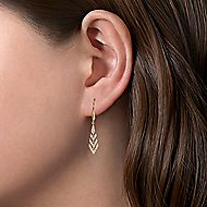 14k Yellow Gold Art Moderne Drop Earrings