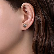 14k Yellow Gold Art Moderne Stud Earrings