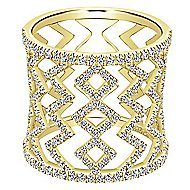 14k Yellow Gold Art Moderne Wide Band Ladies' Ring angle 1