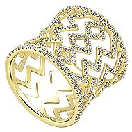14k Yellow Gold Art Moderne Wide Band Ladies' Ring angle 3