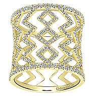14k Yellow Gold Art Moderne Wide Band Ladies' Ring angle 4
