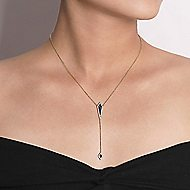 14k Yellow Gold Art Moderne Y Knots Necklace angle 3
