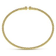 14k Yellow Gold Beaded Open Bangle Bracelet