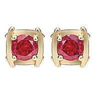 14k Yellow Gold Color Solitaire Stud Earrings angle 1