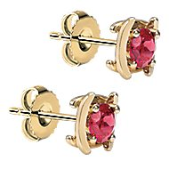 14k Yellow Gold Color Solitaire Stud Earrings angle 2