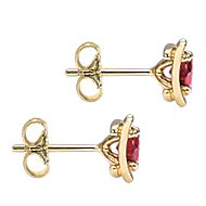 14k Yellow Gold Color Solitaire Stud Earrings angle 3