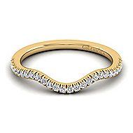 14k Yellow Gold Contemporary Curved Wedding Band angle 1