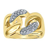 14k Yellow Gold Contemporary Twisted Ladies' Ring angle 4
