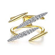 14k Yellow Gold Contemporary Wide Band Ladies' Ring
