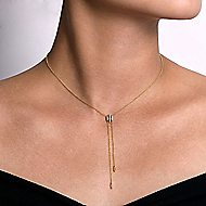 14k Yellow Gold Contemporary Y Knots Necklace angle 3