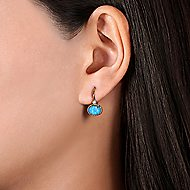 14k Yellow Gold Drop Rock Crystal & Turquoise Earrings