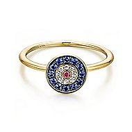 14k Yellow Gold Evil Eye Fashion Ladies' Ring angle 1