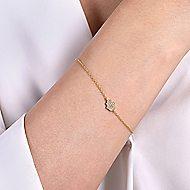 14k Yellow Gold Faith Chain Bracelet angle 3