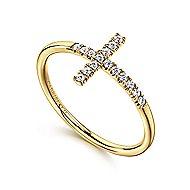 14k Yellow Gold Faith Cross Ladies' Ring
