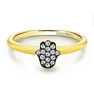 14k Yellow Gold Faith Hand Of God Ladies' Ring angle 1