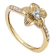 14k Yellow Gold Floral Fashion Ladies' Ring angle 3