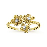 14k Yellow Gold Floral Fashion Ladies' Ring