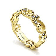 14k Yellow Gold Floral Midi Ladies' Ring angle 3